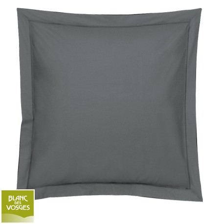 Taie d'oreiller unie Percale Blanc des Vosges acier