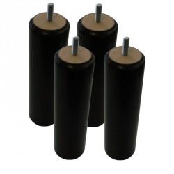 Jeu de 4 pieds cylindriques coloris noir