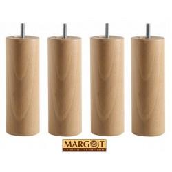 Jeu de 4 pieds cylindriques S4 en hêtre massif - Margot