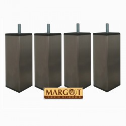 Jeu de 4 pieds de sommier carrés TONGA en Inox - Margot