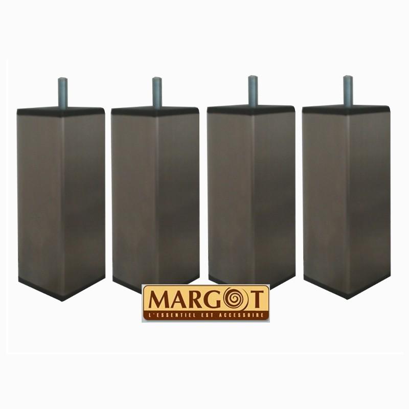 jeu de 4 pieds carr s tonga en inox margot. Black Bedroom Furniture Sets. Home Design Ideas