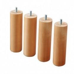 Jeu de 4 pieds cylindriques bois clair