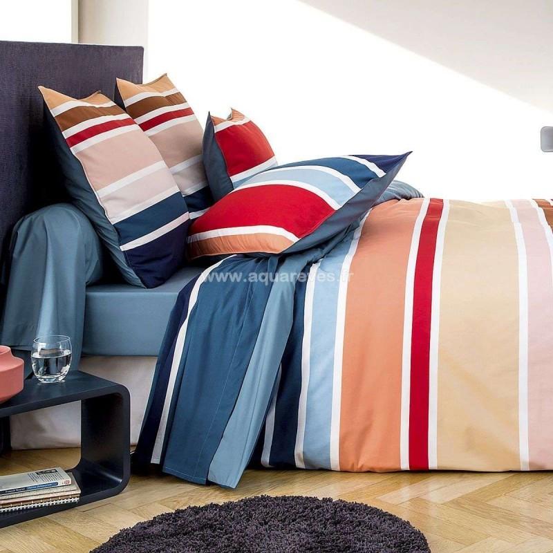 parure de draps stripes blanc des vosges. Black Bedroom Furniture Sets. Home Design Ideas